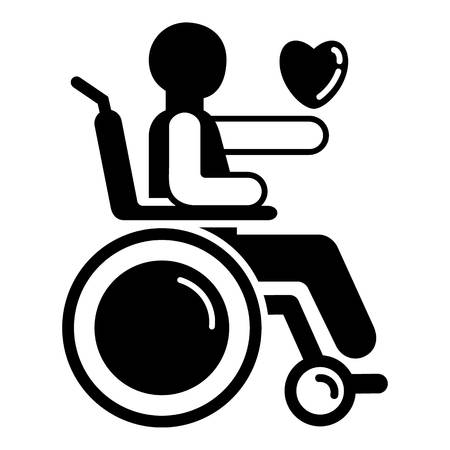 Man in wheelchair icon. Simple illustration of man in wheelchair vector icon for web design isolated on white background