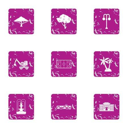 Build a park icons set. Grunge set of 9 build a park vector icons for web isolated on white background
