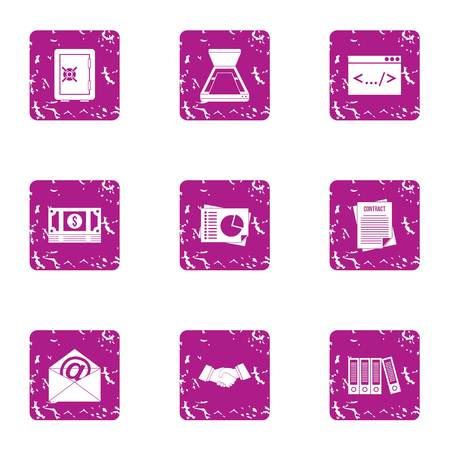 Make a deal icons set. Grunge set of 9 make a deal vector icons for web isolated on white background