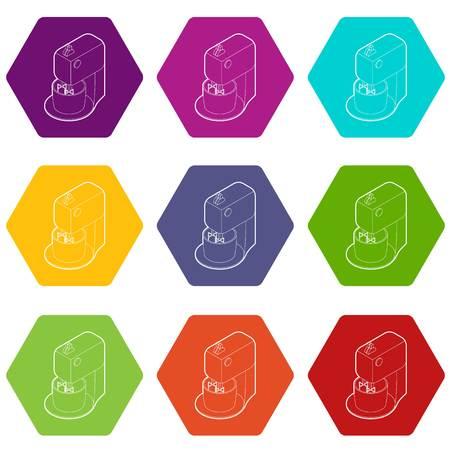 Kitchen mixer icons 9 set coloful isolated on white for web Illustration