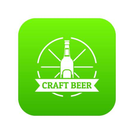 Craft beer icon green vector