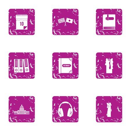 Wisdom icons set. Grunge set of 9 wisdom vector icons for web isolated on white background