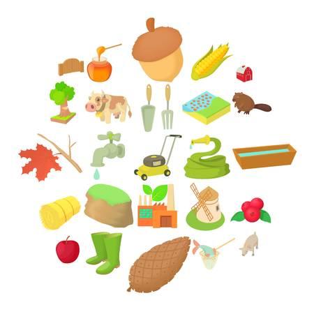Gardening icons set. Cartoon set of 25 gardening vector icons for web isolated on white background 일러스트