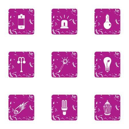 Emergency siren icons set. Grunge set of 9 emergency siren vector icons for web isolated on white background