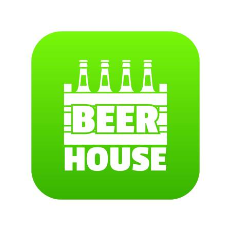 Beer icon green vector