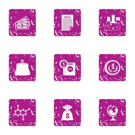 Scientific money icons set. Grunge set of 9 scientific money vector icons for web isolated on white background
