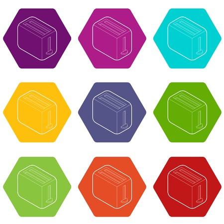 Toaster icons 9 set coloful isolated on white for web Illustration