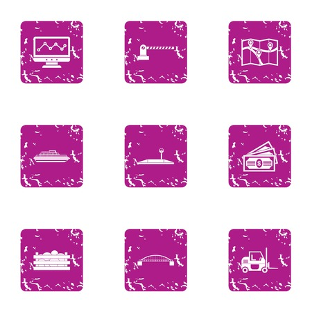 Fee for goods icons set. Grunge set of 9 fee for goods vector icons for web isolated on white background