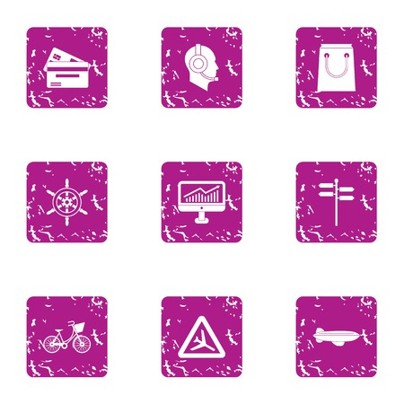 Tourist assistance icons set. Grunge set of 9 tourist assistance vector icons for web isolated on white background Иллюстрация