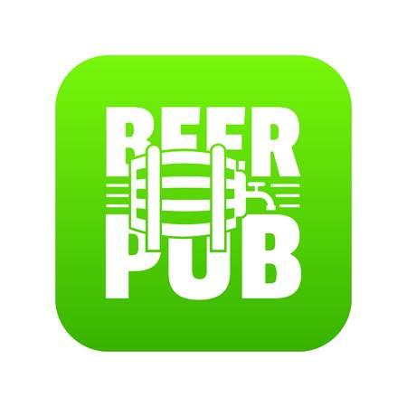 Beer pub icon green vector