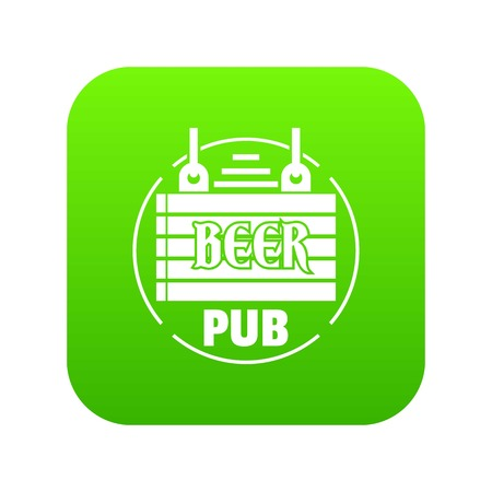 Wood board beer pub icon green vector