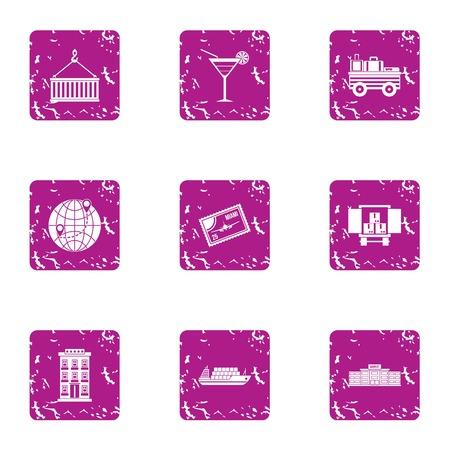 Cargo transfer icons set, grunge style