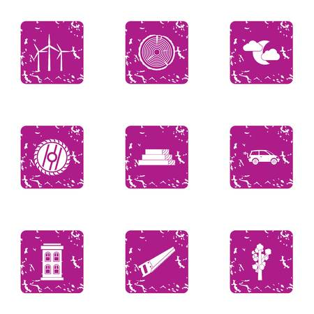 Recess icons set. Grunge set of 9 recess vector icons for web isolated on white background