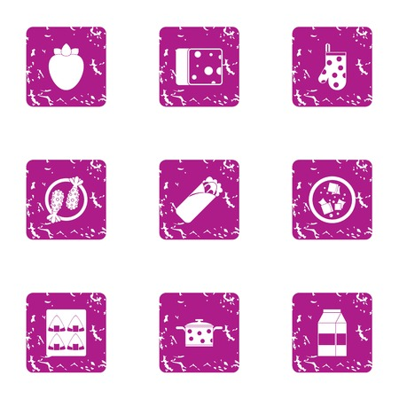 Collecting food icons set. Grunge set of 9 collecting food vector icons for web isolated on white background