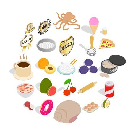 Grocery shopping icons set. Isometric set of 25 grocery shopping vector icons for web isolated on white background