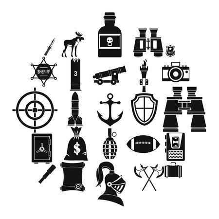 Guns icons set, simple style