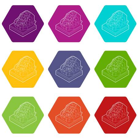 Rockfall icons 9 set coloful isolated on white for web