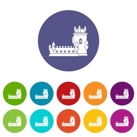History castle icons set vector color Ilustrace