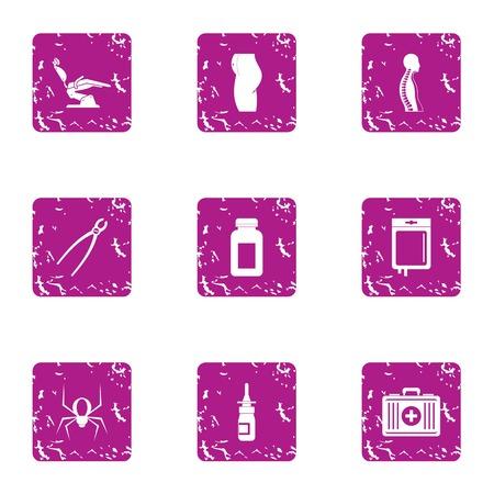 Worldwide hospital icons set. Grunge set of 9 worldwide hospital vector icons for web isolated on white background