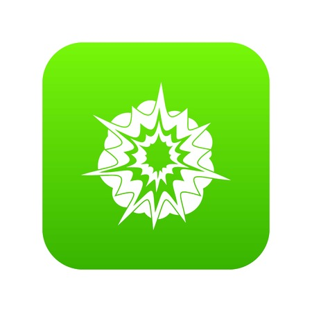 Fire explosion icon digital green