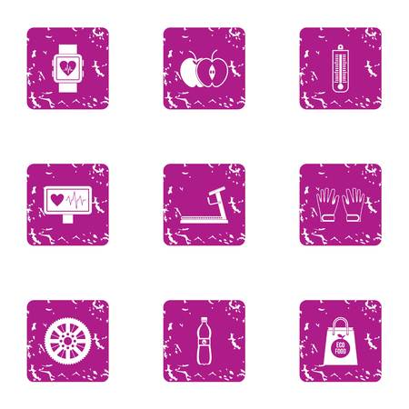 Medical oversight icons set. Grunge set of 9 medical oversight vector icons for web isolated on white background