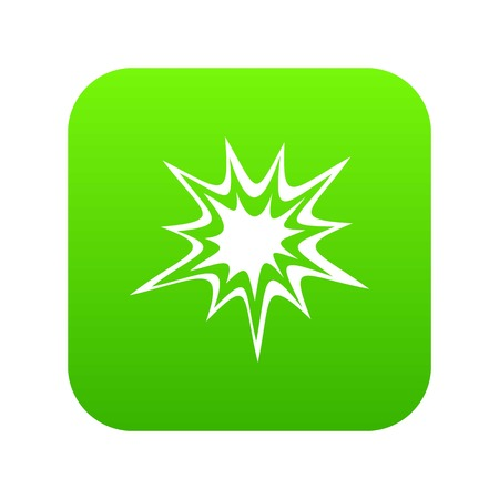 Heavy explosion icon digital green