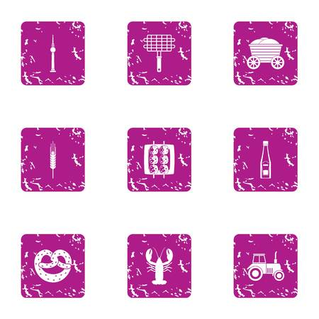 Grill pabulum icons set. Grunge set of 9 grill pabulum vector icons for web isolated on white background 向量圖像