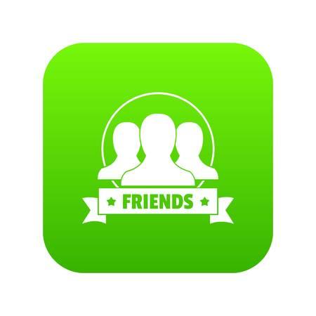 Friends icon green vector