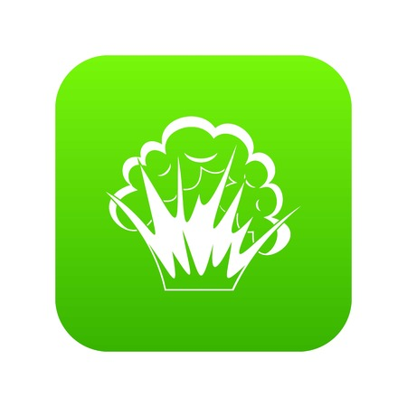 Flame and smoke icon digital green