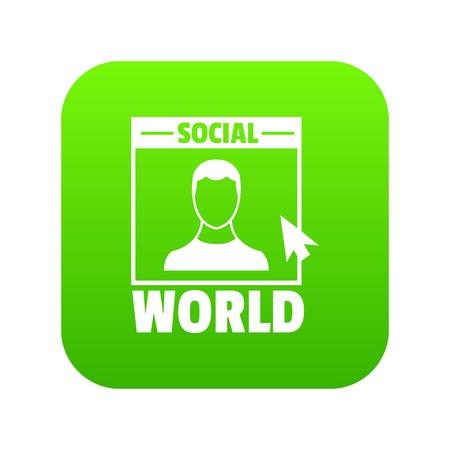 Social world icon green vector Illustration
