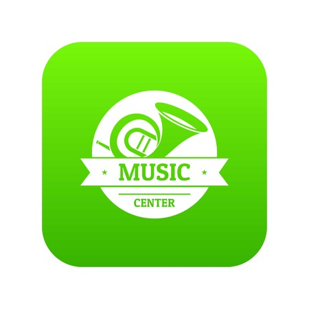 Musical instrument trumpet icon green vector