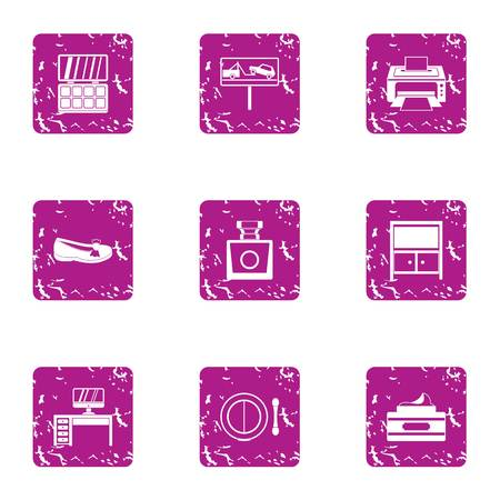 Evacuation icons set. Grunge set of 9 evacuation vector icons for web isolated on white background