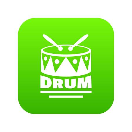 Drum icon green vector