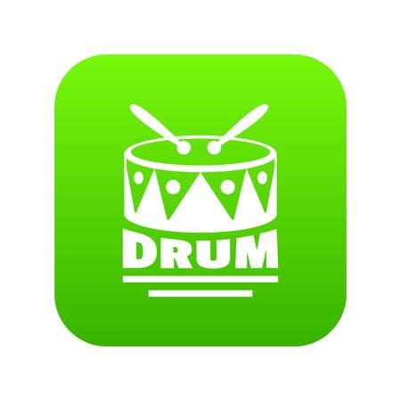 Drum icon green vector
