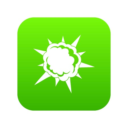 Powerful explosion icon digital green