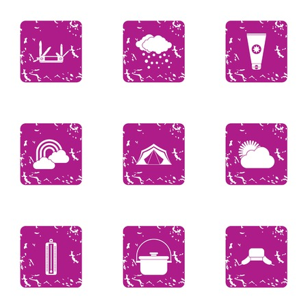 Meteorological observation icons set. Grunge set of 9 meteorological observation vector icons for web isolated on white background