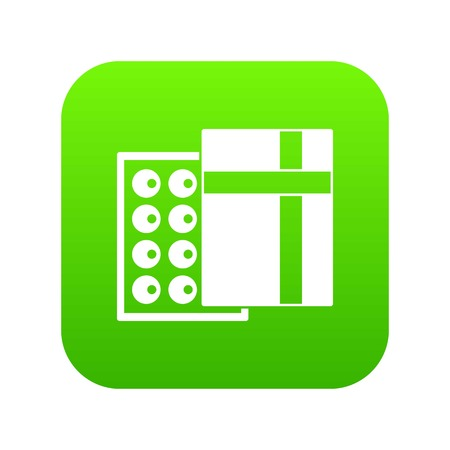 Box with chocolates icon digital green for any design isolated on white vector illustration