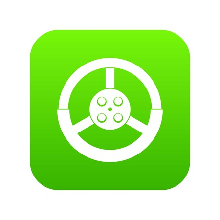 Steering wheel icon digital green