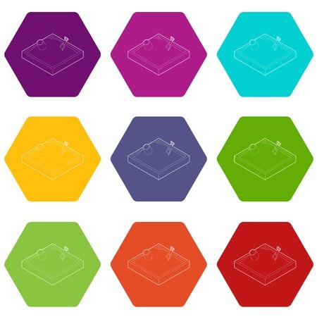 Sandbox icons 9 set coloful isolated on white for web Illustration