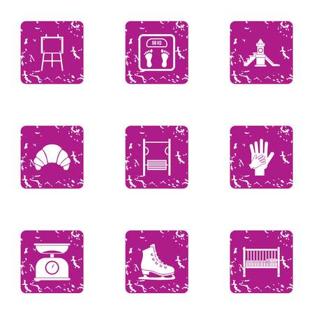 Observation weight icons set, grunge style
