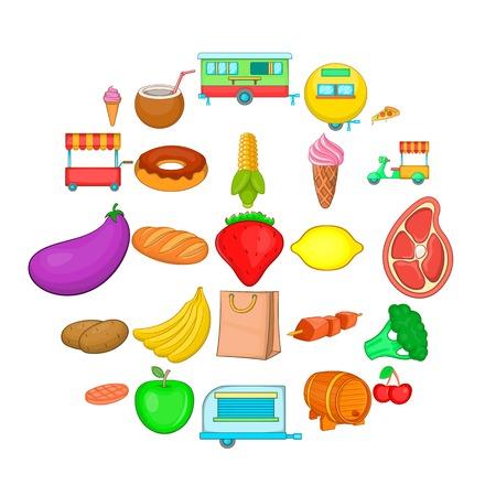 Sideboard icons set. Cartoon set of 25 sideboard vector icons for web isolated on white background Ilustração