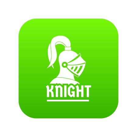 Knight helmet icon green vector