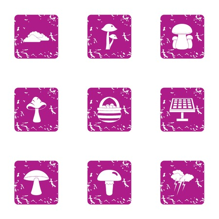 Solar absorption icons set. Grunge set of 9 solar absorption vector icons for web isolated on white background Illustration