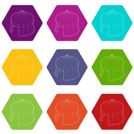 Circus tent icons 9 set coloful isolated on white for web 免版税图像 - 130235920