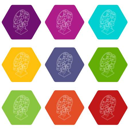 Ferris wheel icons 9 set coloful isolated on white for web
