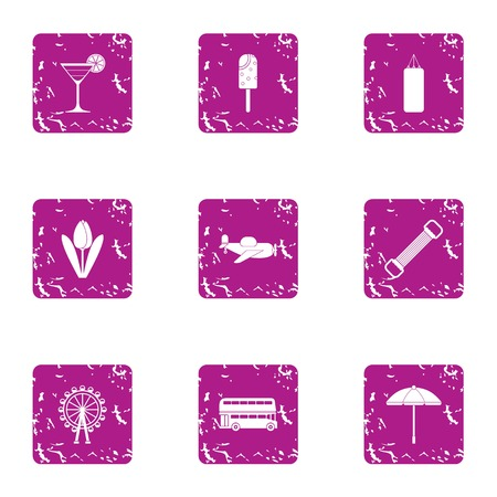 Stroll icons set. Grunge set of 9 stroll vector icons for web isolated on white background