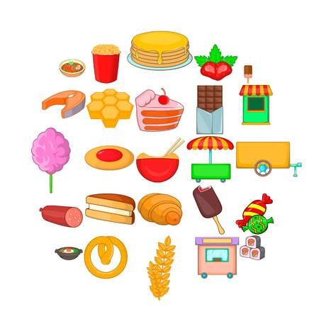 Street sweets icons set. Cartoon set of 25 street sweets vector icons for web isolated on white background