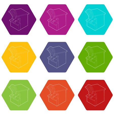 Shooting gallery icons 9 set coloful isolated on white for web
