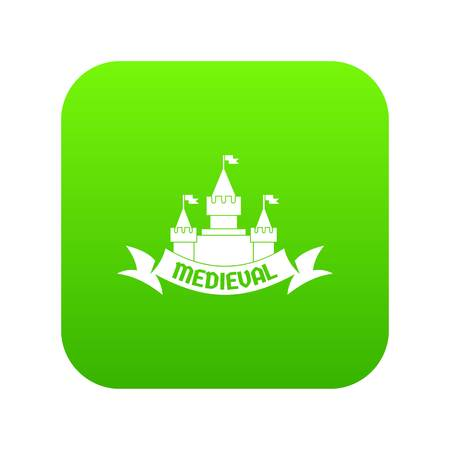 Castle icon green vector Ilustrace