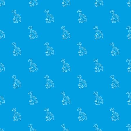 Young dinosaur pattern vector seamless blue Illustration
